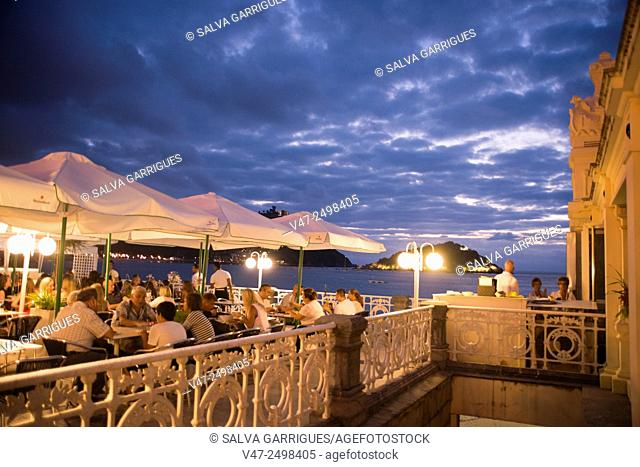 A restaurant terrace of the Playa de La Concha in San Sebastian, Vizcaya, Basque Country, Spain, Europe