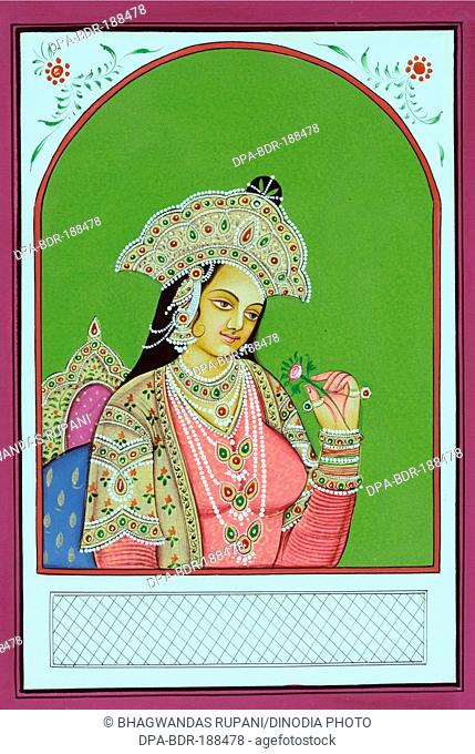 Miniature painting of Mughal Queen Mumtaz Mahal