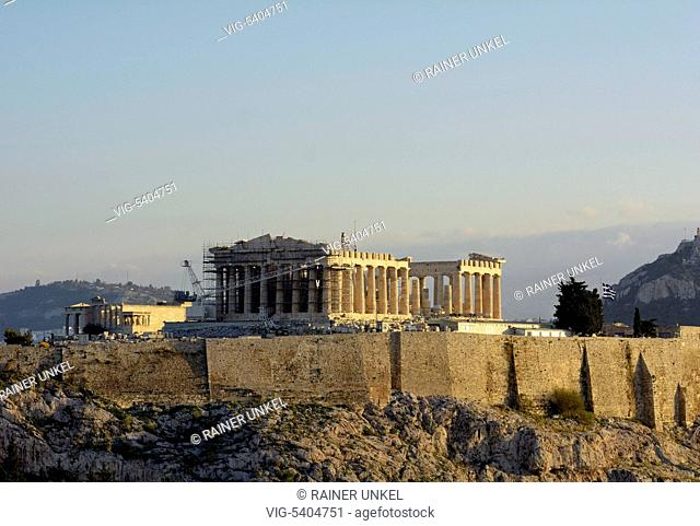 GRC , GREECE : Acropolis in Athens , the main temple is the Parthenon , 07.02.2016 - Athens, Attica, Greece, 07/02/2016