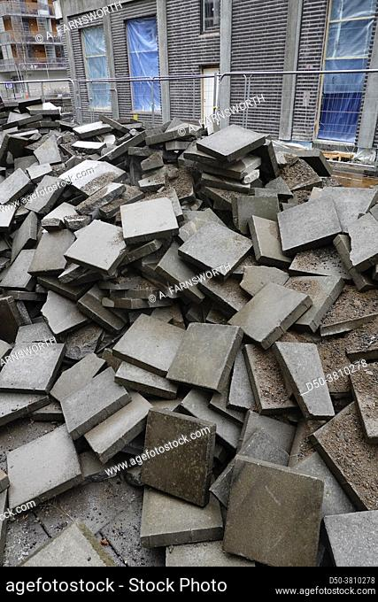 Stockholm, Sweden A pile of large pavement blocks piled high at a construction project
