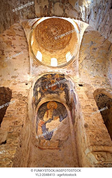The inetrior & Byzantine frescos of the Byzantine Church of St Sophia in the Monastery of Christ The Giver Of Life built by Manuel Kantakouzenos in the late...