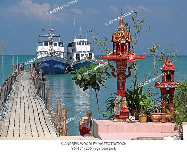 Spirit houses at Big Buddha Pier Samui island ferry gateway to nearby island Ko Pha Ngan Thailand