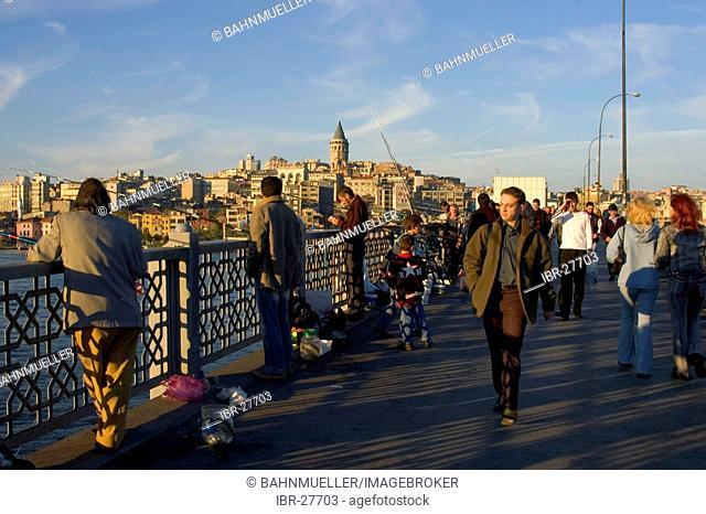 Istanbul Turkey Galatian bridge in the evening in front of the quarter Galata