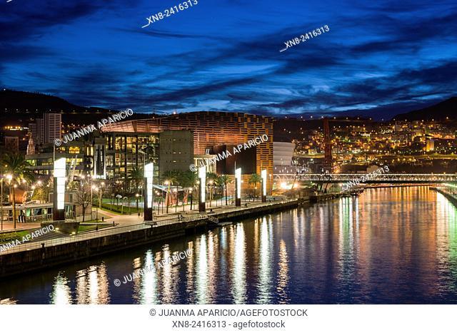 Nervion River and Palacio Euskalduna, Bilbao, Biscay, Basque Country, Euskadi, Spain, Europe