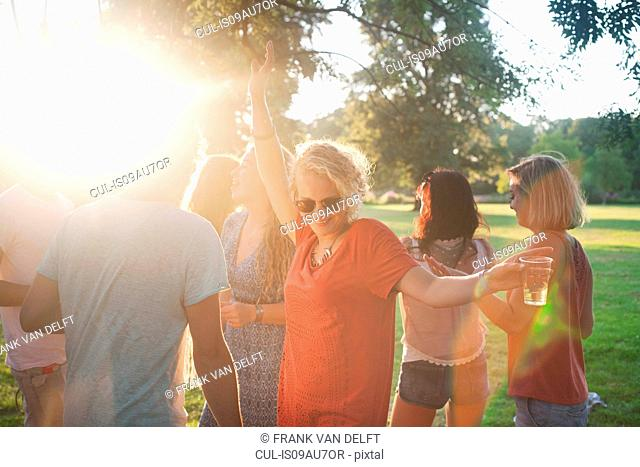 Adult friends dancing and drinking in park at sunset