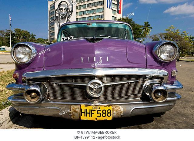 Classic car, Plaza de la Revolucion, Havana, Cuba