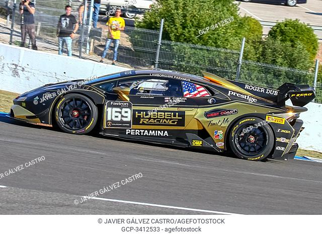 Jerez, Spain. 26th Oct, 2019, Super Trofeo World Final Lamborghini Jerez 2019, October, 26th, saturday races USA, William Hubbell on first curve