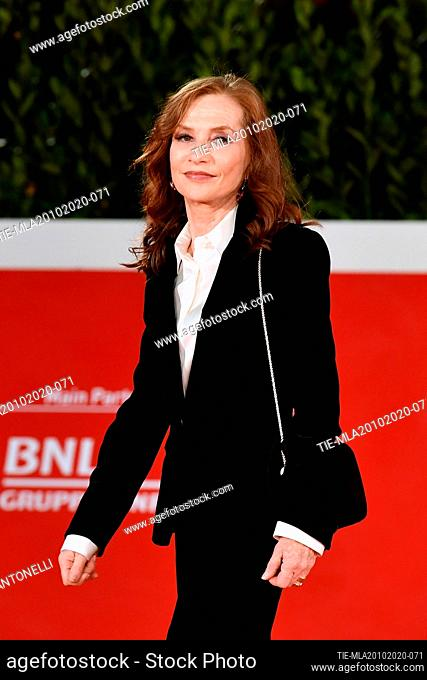Isabelle Huppert arrives for the screening of 'Le Discours' (The Speech) at the 15th annual Rome International Film Festival, Rome, ITALY-19-10-2020