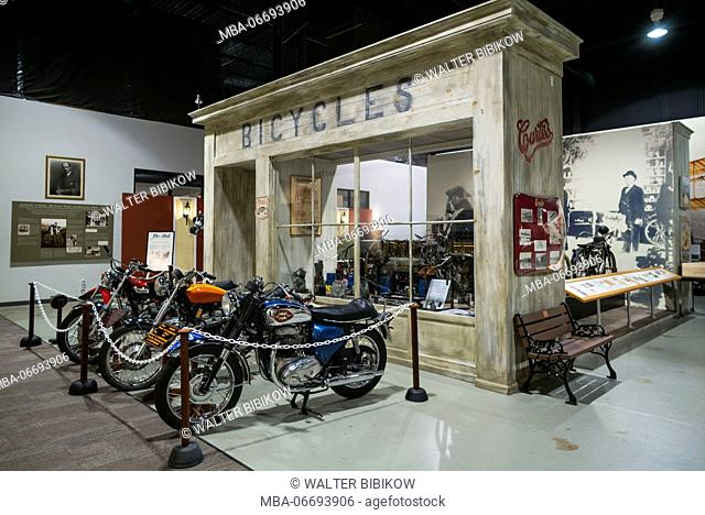 USA, New York, Finger Lakes Region, Hammondsport, Glenn H, Curtiss Museum, dedicated to early US aviation pioneer and resident Glenn Curtiss, Curtiss cycle shop