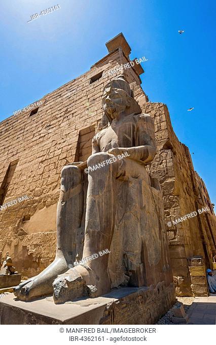 Pylon with Pharaoh, Temple Complex Karnak Temple, Karnak, Luxor, Egypt