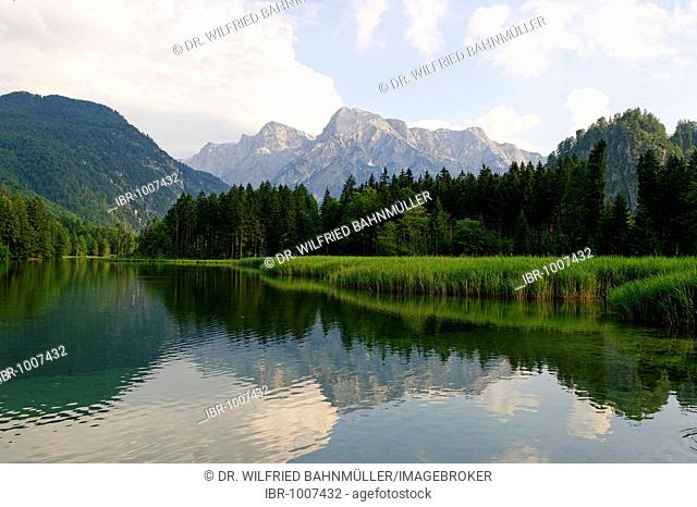 Almsee in the Alm valley below the Totes Gebirge mountains, Upper Austria, Austria, Europe