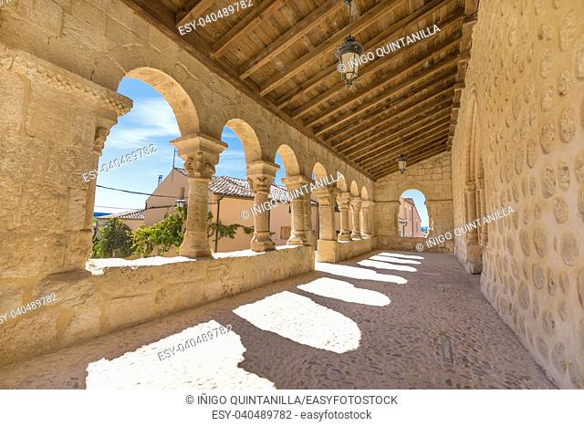 portico gallery in church San Miguel (Saint Michael), romanesque style landmark and public monument from eleventh century, in San Esteban de Gormaz, Soria