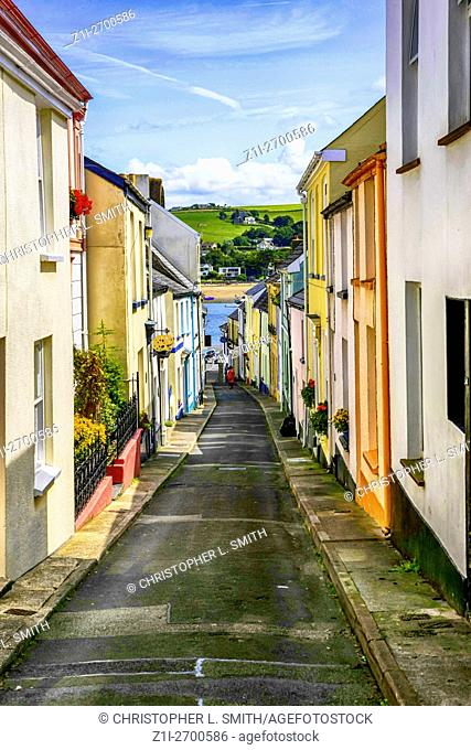 Narrow streets in the village of Appledore Devon England