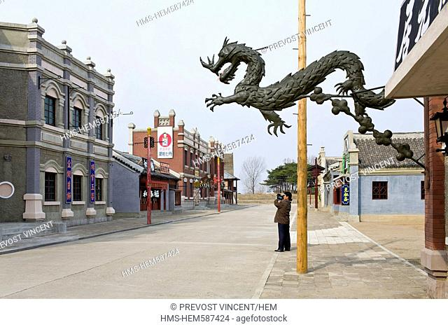 North Korea, Pyongyang, film set depicting a Chinese street