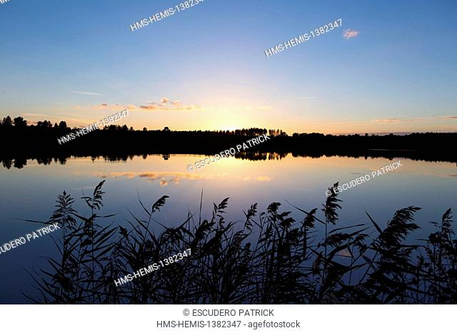France, Loir et Cher, Sologne, La Ferte Beauharnais, sunset over a pond