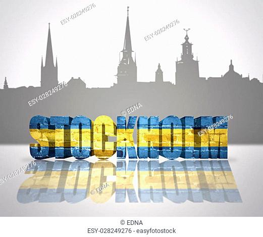 Word Stockholm with national flag of Sweden near skyline silhouette
