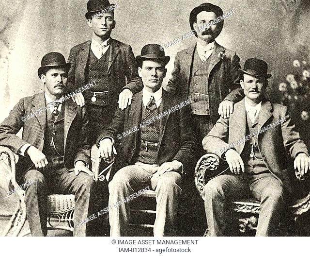 The Wild Bunch, 1901, gang of American outlaws, bank and train robbers, led by Butch Cassidy, seated right. Cassidy, born Robert LeRoy Parker 1866-1908:...