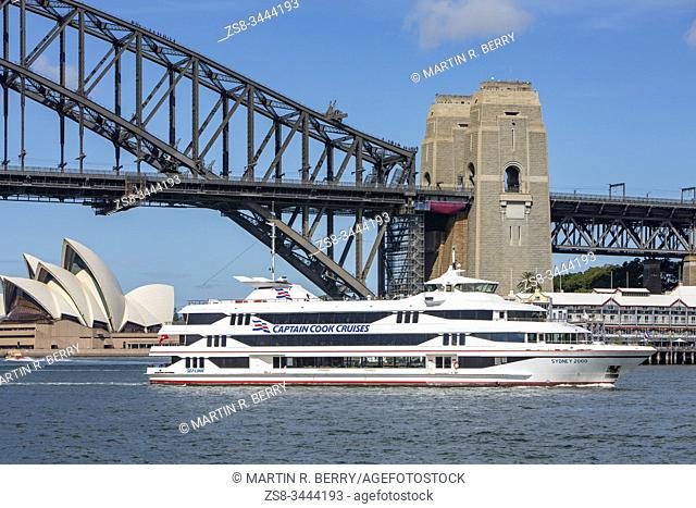Captain Cook cruises boat on Sydney harbour in Australia