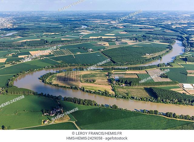 France, Lot et Garonne, Meihan sur Garonne, the Garonne river plain (aerial view)