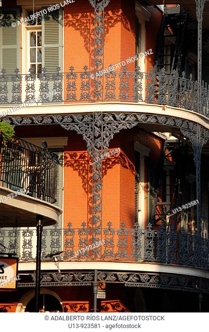 Balconies in a historic building in Royal Street, French Quarter, New Orleans, Louisiana, USA