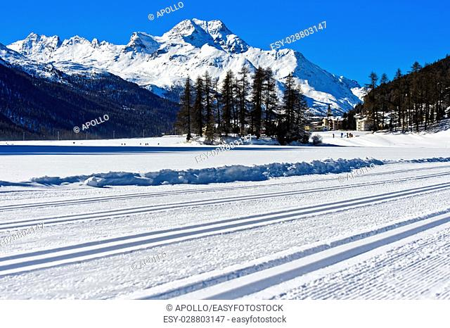 Cross-country ski runs on Lake Silvaplana, Silvaplana, Upper-Engadine valley, Grisons, Graubunden, Switzerland