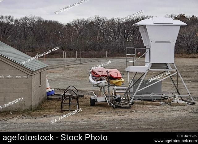 Crane Beach, Massachusetts, USA An idle lifeguard station and surboards during the winter
