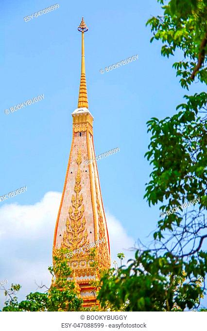 Thai pagoda style with blue sky background