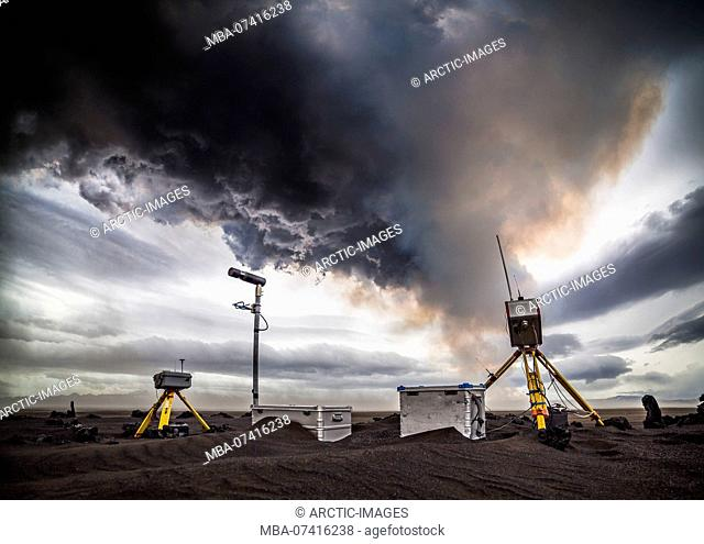 Scientific equipment-Volcanic plumes with toxic gases, Holuhraun Fissure Eruption, Iceland. August 29, 2014 a fissure eruption started in Holuhraun at the...