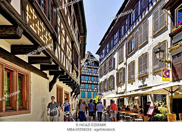 Petite France, paved alley lined with old houses, Strasbourg, France