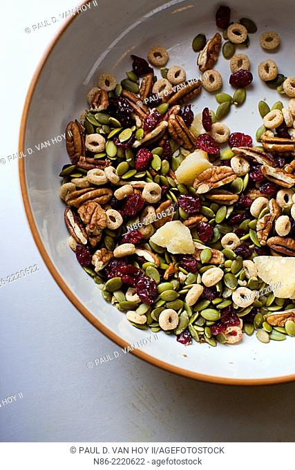 parmesan trail mix with dates apricots and walnuts