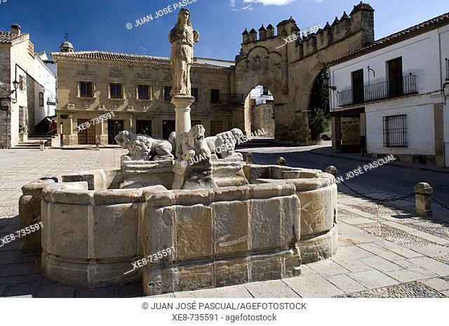 Fountain of the Lions in Plaza del Populo, Baeza. Jaen province, Andalucia, Spain