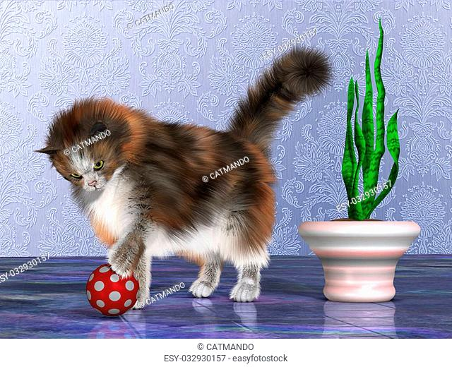Oscar, a calico cat, plays with a red ball on a purple marble floor