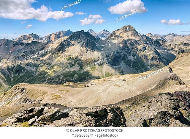 View from Piz Nair at the surrounding mountain landscape in summer, St. Moritz, Switzerland