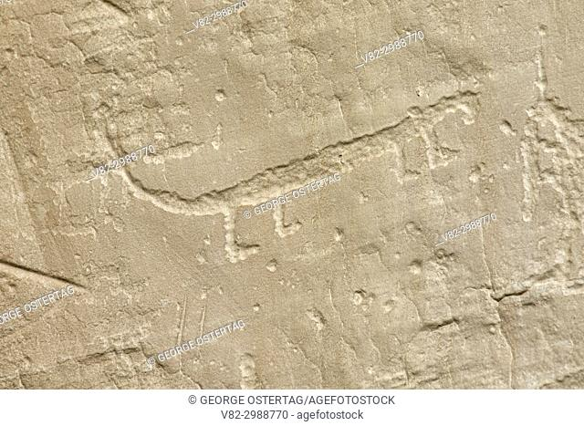 Native American petroglyph along Inscription Rock Trail, El Morro National Monument, New Mexico