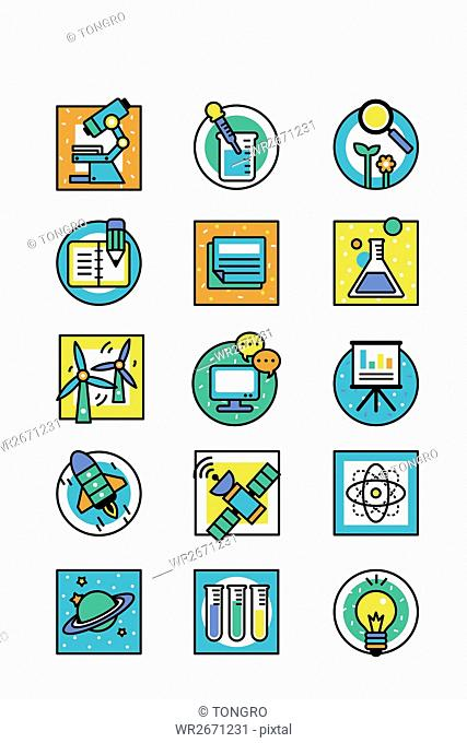 Various icons related to science education