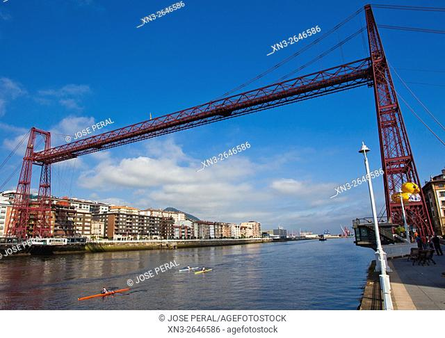The Vizcaya Bridge, commonly call it the Puente Colgante, is a transporter bridge that links the towns of Portugalete and Las Arenas (part of Getxo)