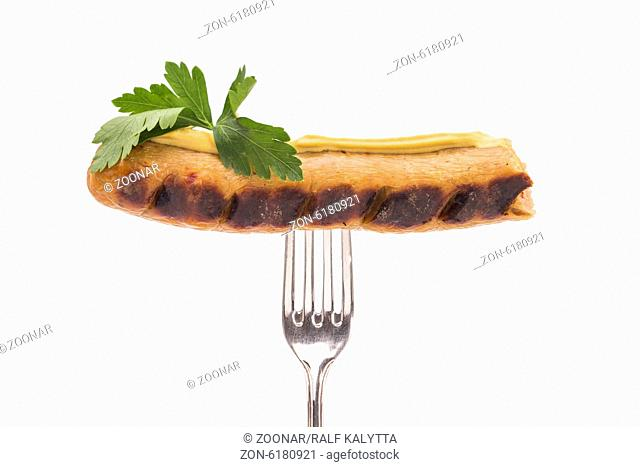 Grilled sausage with fork