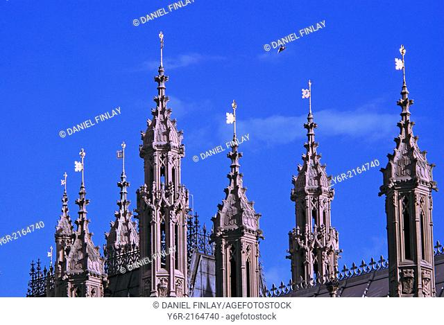 Weathervanes on the Houses of Parliament on a sunny Summer day in Westminster, London, England