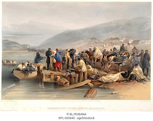 The sick at Balaclava, 'Embarkation of the sick at Balaclava'. Image taken from The Seat of War in the EaSt Lithographed plates, illustrating the Crimean War