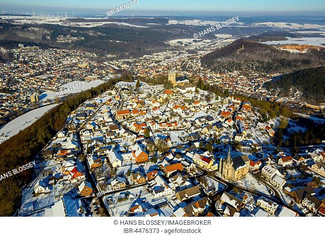 District Obermarsberg, Eresberg in winter, Marsberg, Sauerland, North Rhine-Westphalia, Germany