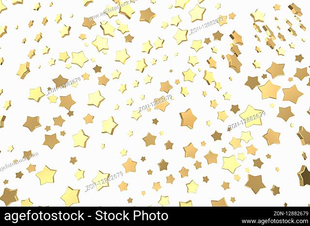 Gold or platinum stars flying over white background. Modeling 3d illustration. wealth rich mining bitcoin concept . Money growing business finance success...