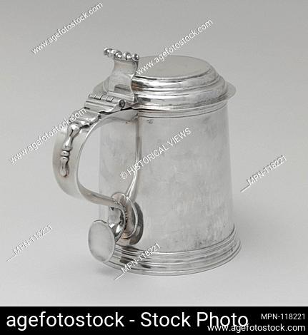Tankard. Maker: Nicholas Roosevelt (1715-1769); Date: 1740-50; Geography: Made in New York, New York, United States; Culture: American; Medium: Silver;...