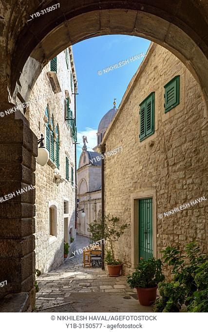 Medieval arched alleway, Sibenik, Croatia