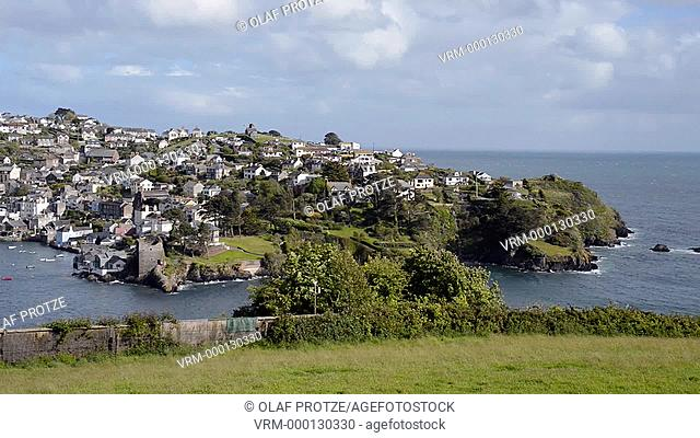 Scenic view from Fowey at the Village Polruan across the River Fowey, Cornwall, England, UK
