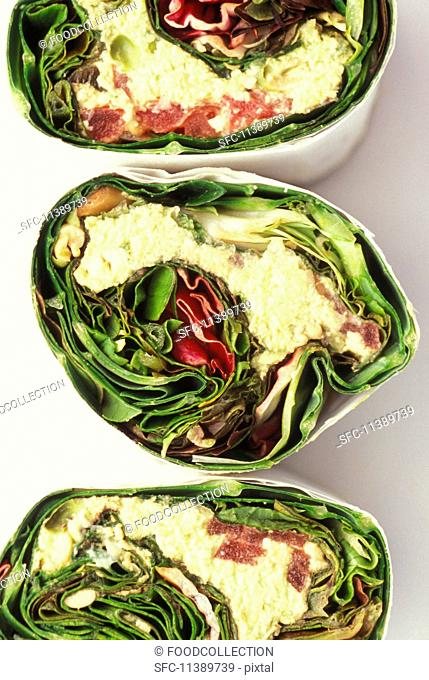 Vegetarian wrap with lettuce