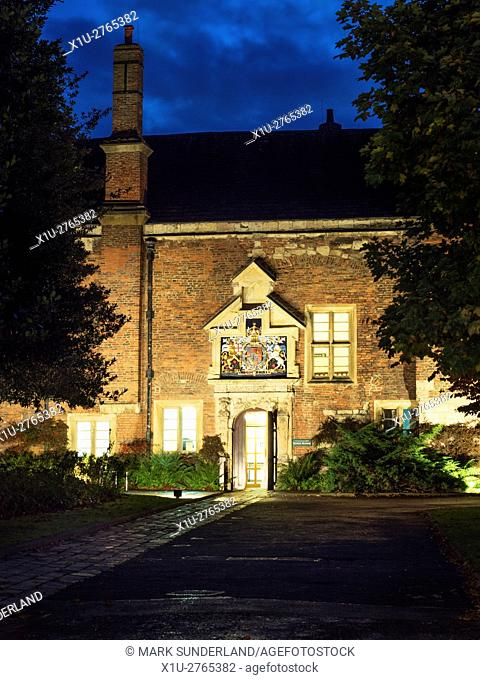 Floodlit Kings Manor at Dusk from Exhibition Square in York Yorkshire England