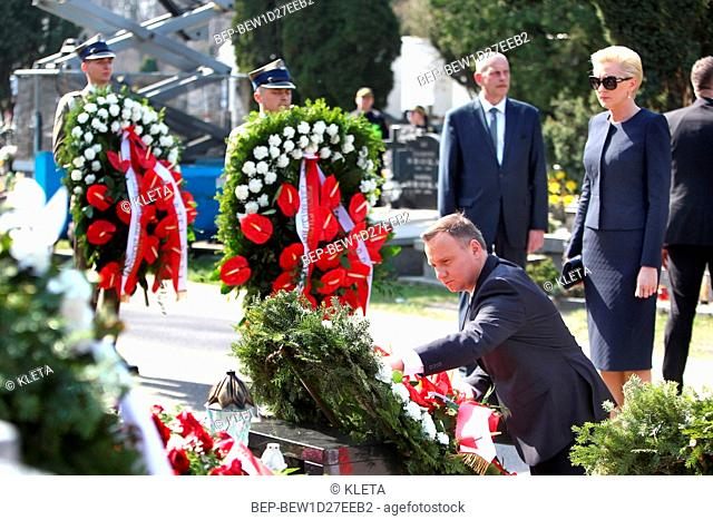 April 10, 2018 Powazki Cemetery, Warsaw, Poland. Presidential Couple during the deposit wreath ceremony at the monument of to the victims of the Smolensk air...