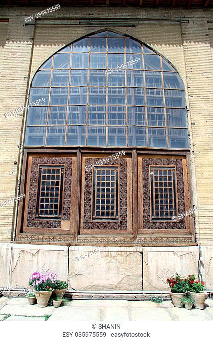 Wooden window of palace in fortress Arg-e Karim Khan in Shiraz, Iran