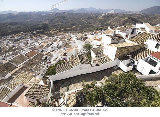 Olvera is one of the most beautiful villages in Spain, Andalusia, Spain. Aerial view