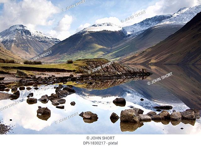 Mountains and lake at Lake District, Cumbria, England